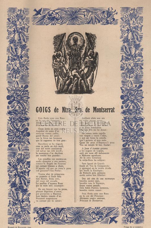 Goigs de Ntra. Sra. de Montserrat.