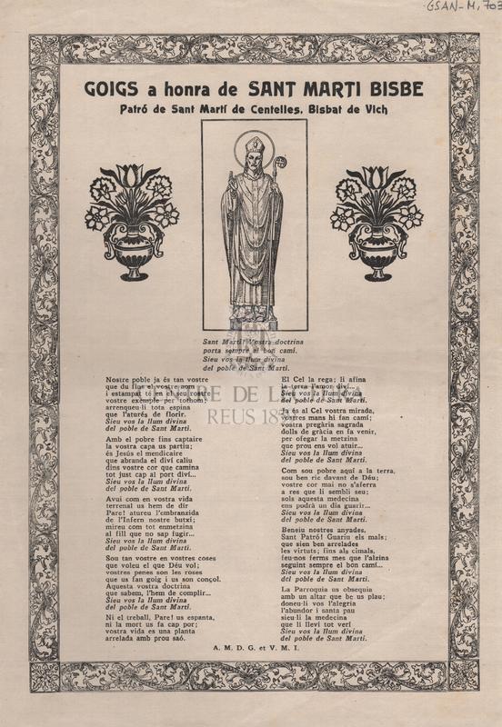 Goigs a honra de Sant Marti Bisbe. Patró de Sant Martí de Centelles, Bisbat de Vich