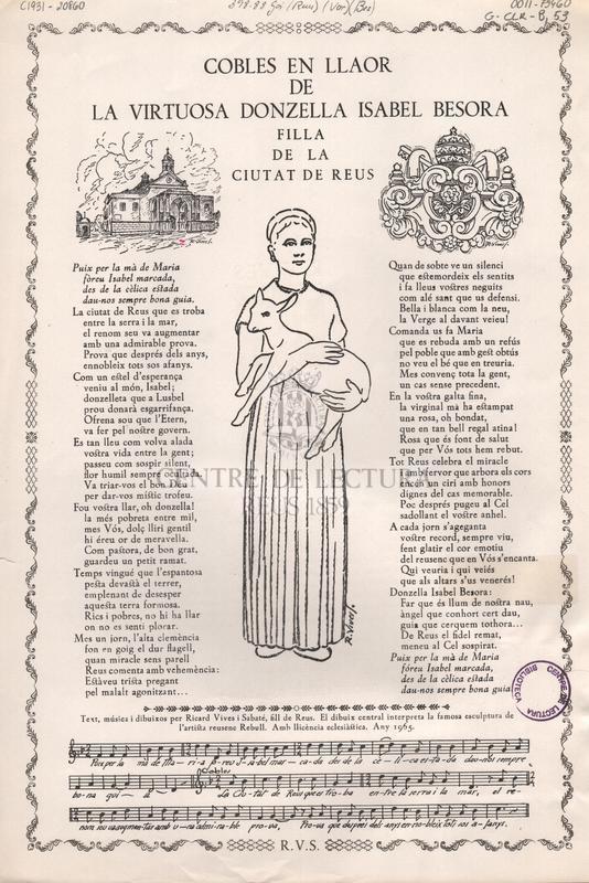 Cobles en llaor de la virtuosa donzella Isabel Besora filla de la ciutat de Reus.