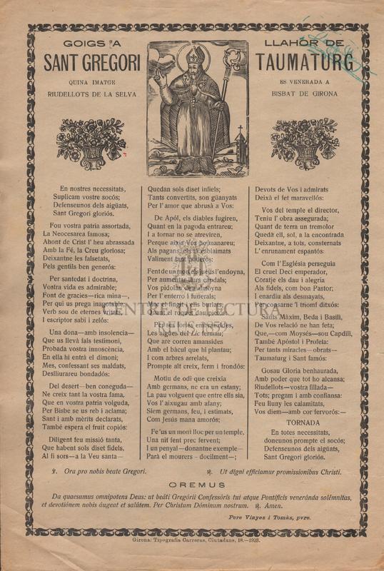 Goigs a llahor de Sant Gregori Taumaturg quina imatge es venera a Riudellots de la Selva Bisbat de Girona