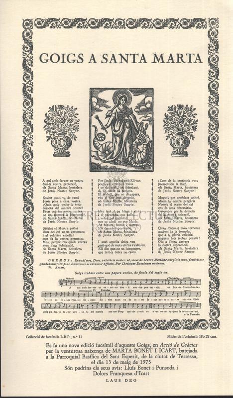 Goigs a santa Marta