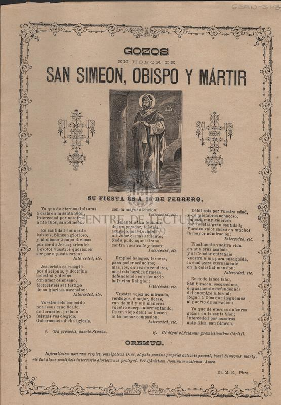 Gozos en honor de San Simeon, obispo y mártir