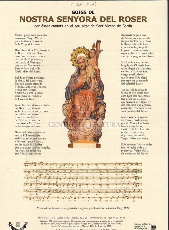 Goigs de Nostra Senyora del Roser per ésser cantats en el seu altar de Sant Vicenç de Sarrià