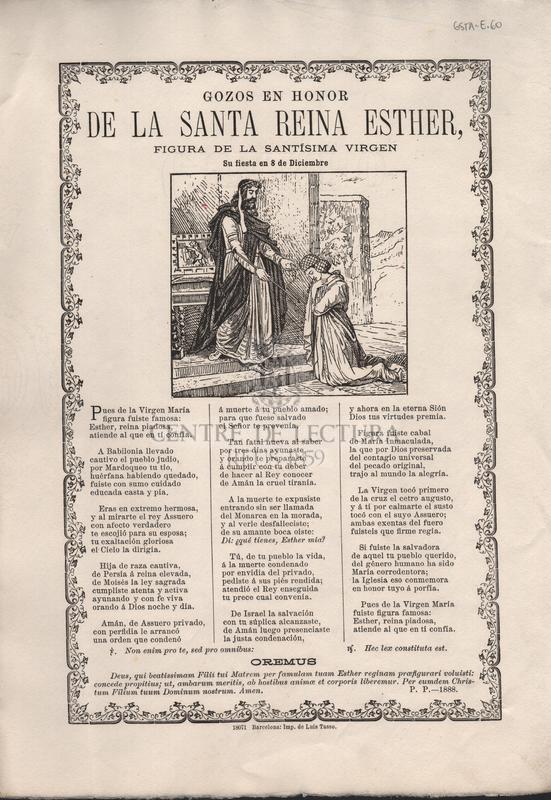 Gozos en honor de la Santa Reina Esther, figura de la Santíssima virgen. Su fiesta en 8 de Diciembre.