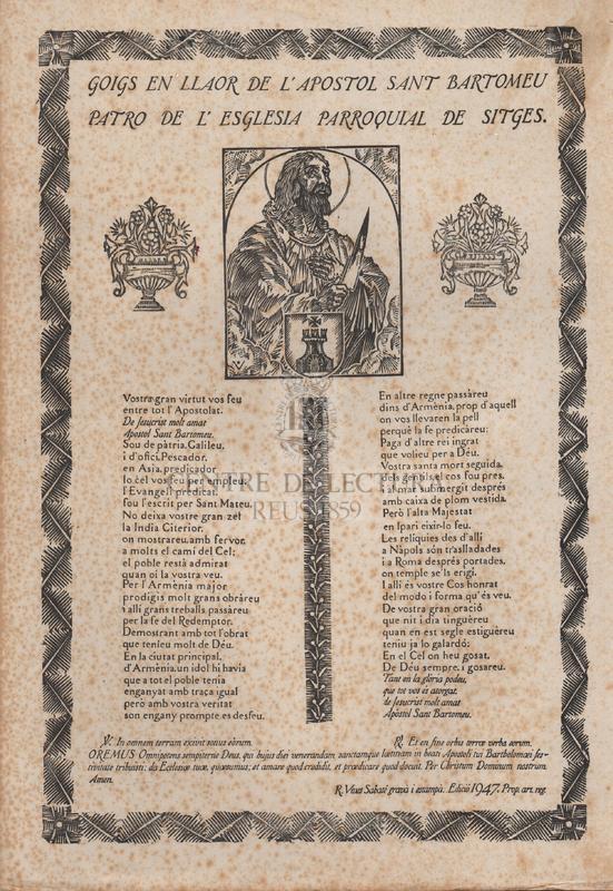 Goigs en llaor de l'apostol Sant Bartomeu, patró de l'església parroquial de Sitges