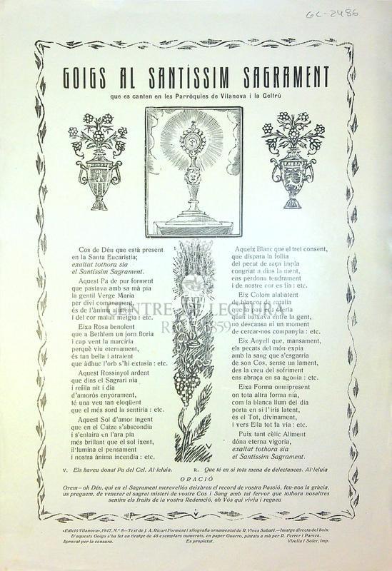 Goigs al santíssim sagrament que es canten en les Parròquies de Vilanova i la Geltrú