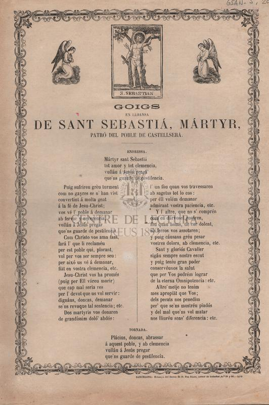 Goigs en lloansa de Sant Sebastià, Màrtyr, patró del poble de Castellserá