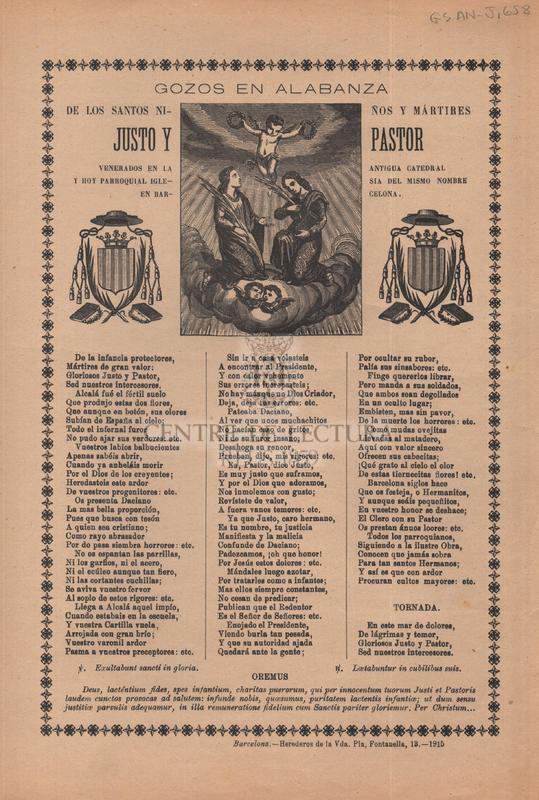 Gozos en alabanza de los santos niños y mártires Justo y Pastor, venerados en la antigua catedral y hoy parroquial iglesia del mismo nombre en Barcelona