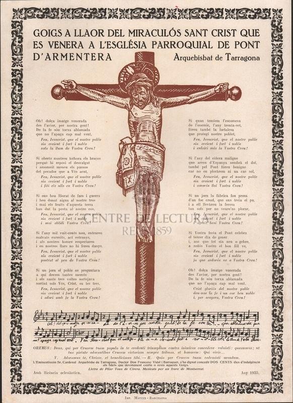 Goigs a llaor del miraculós Sant Crist que es venera a l'Eslgésia Parroquial de Pont d'Armentera