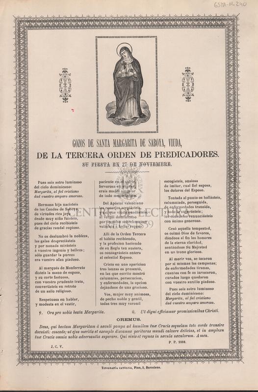 Gozos de Santa Margarita de Saboya, viuda, de la tercera orden de predicadores. Su fiesta en 27 de noviembre.
