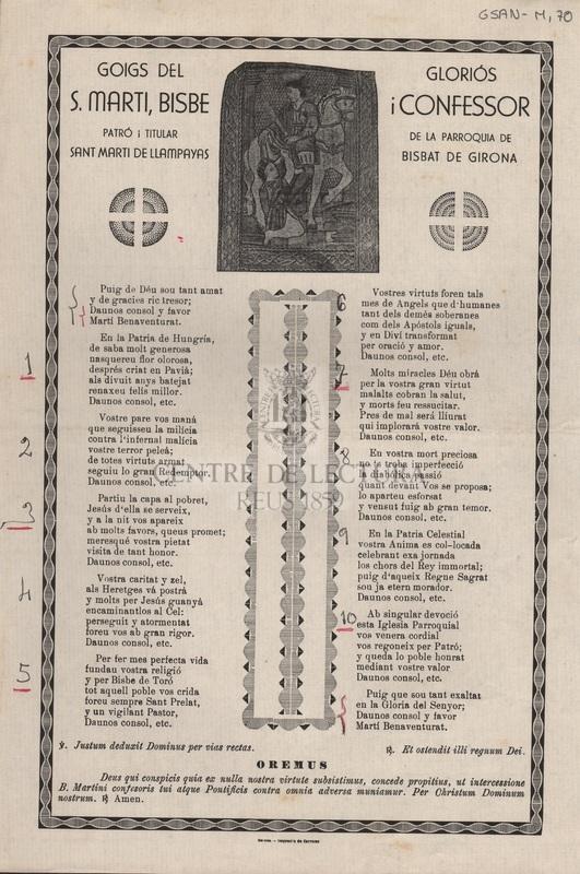 Goigs del gloriós S. Marti, Bisbe i Confessor patró i titular de la parroquia de Sant Marti de Llampayas Bisbat de Girona