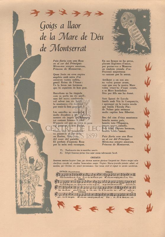 Goigs a llaor de la Mare de Déu de Montserrat.
