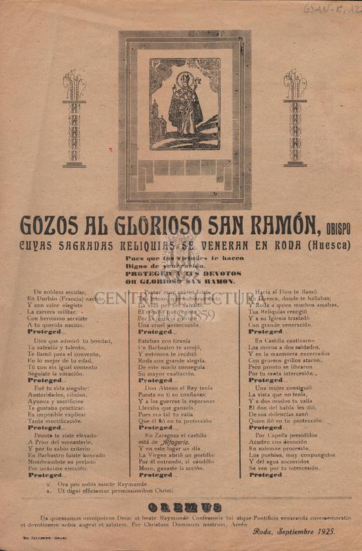 Gozos al glorioso San Ramón, Obispo cuyas Sagradas Reliquias se veneran en Rosa (Huesca)