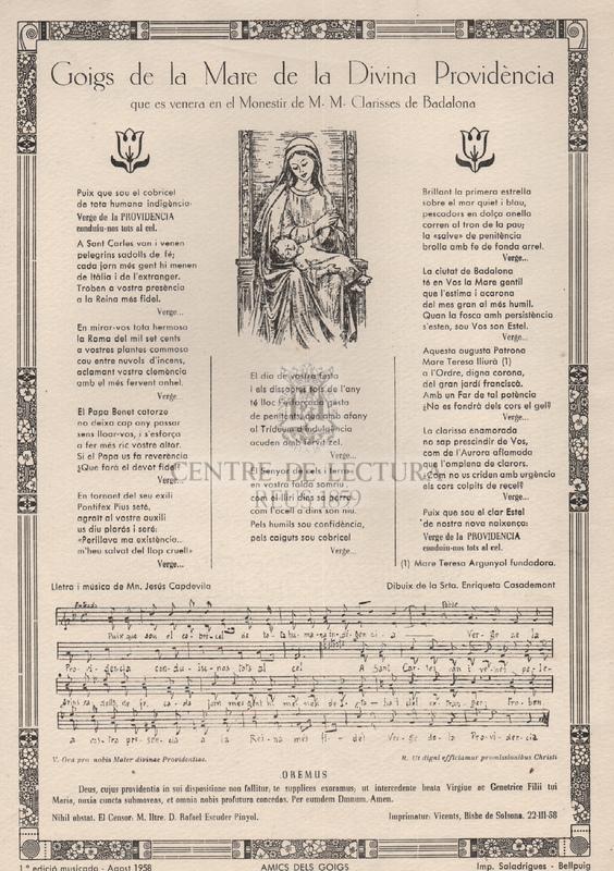 Goigs de la Mare de la Divina Providència que es venera en el Monestir de M. M. Clarisses de Badalona.