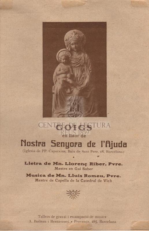 Goigs en llaor de Nostra Senyora de l'Ajuda (Iglesia de PP. Caputxins, Baix de Sant Pere, 18, Barcelona).