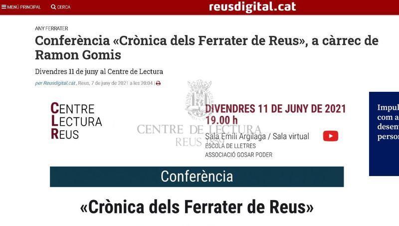 Conferència «Crònica dels Ferrater de Reus», a càrrec de Ramon Gomis