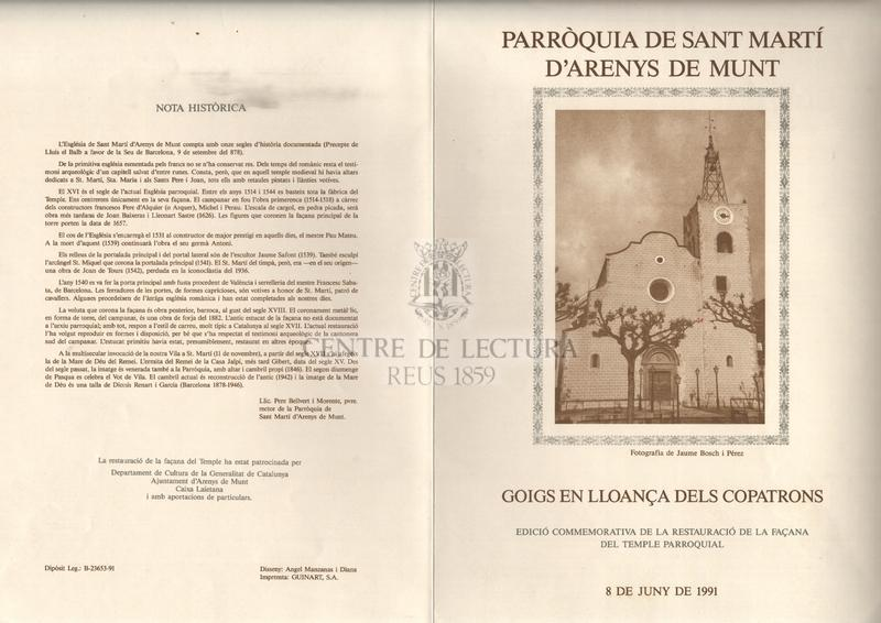 Goigs a llaor de Sant Martí. Cavaller, monjo i bisbe. Titular de la parròquia d'Arenys de Munt, bisbat de Girona