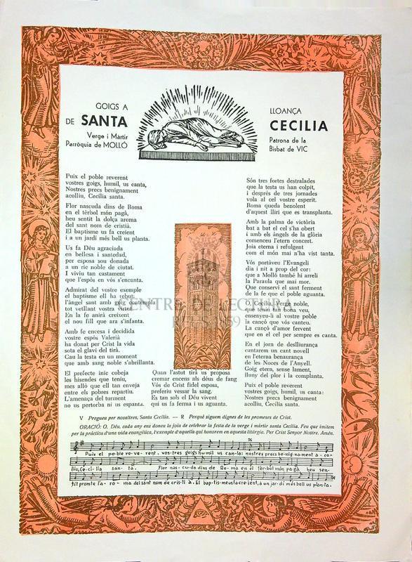 Goigs a lloança de Santa Cecilia, Verge i màrtir, patrona de la parròquia de Molló (Bisbat de Vic)