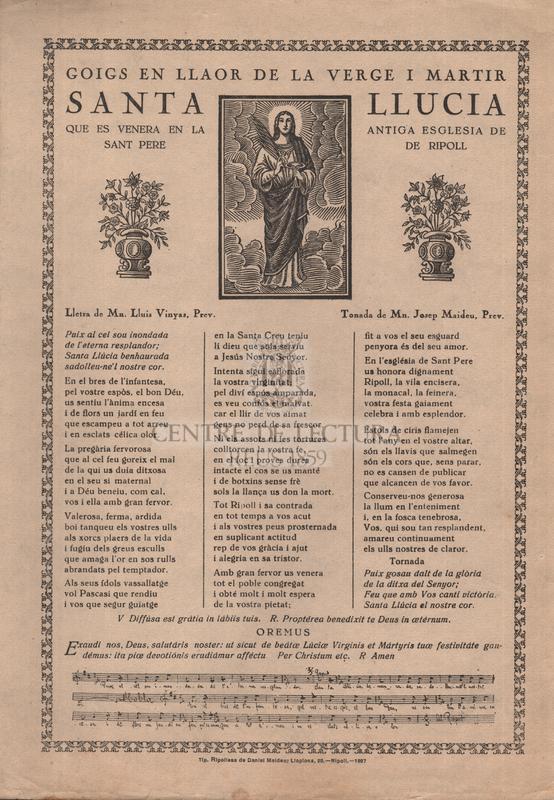 Goigs en llaor de la verge i martir santa Llucia, que es venera en la antiga esglesia de sant Pere de Ripoll
