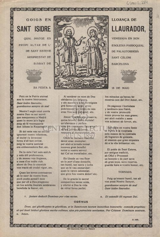 Goigs en lloança de sant Isidre Llaurador, qual imatge es venerda en son propi altar de l'esglesia parroquial de sant Andreu de Llavaneres Bisbat de Barcelona