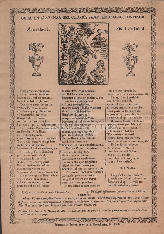 Goigs en alabanza del gloriós Sant Theobaldo, confesor. Se celebra lo dia 1 de Juliol