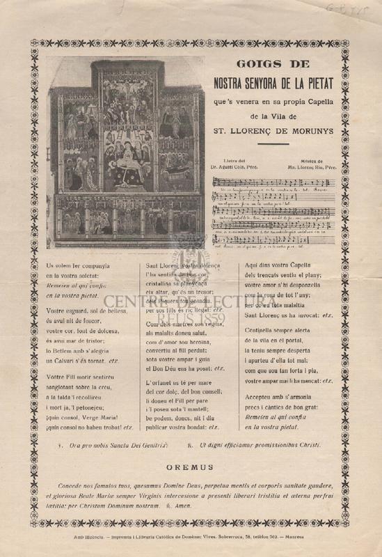 Goigs de Nostra Senyora de la Pietat que's venera en sa propia Capella de la Vila de St. Llorenç de Morunys.