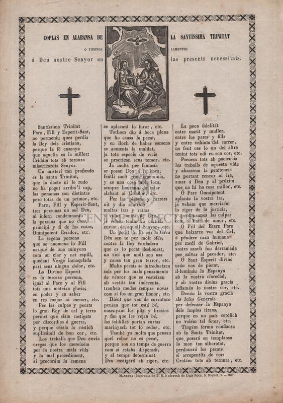 Coplas en alabansa de la Santíssima Trinitat ó tiernos lamentos á Deu nostre Senyor en las presents necessitats