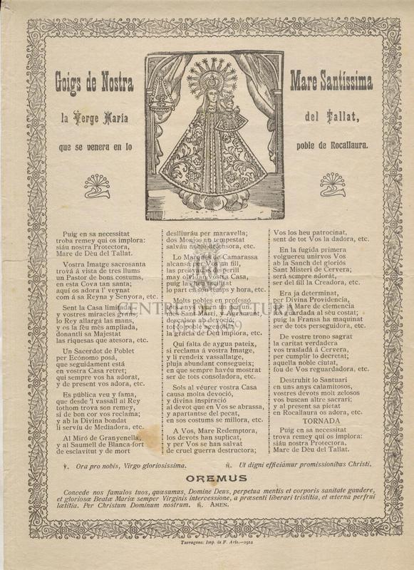 Goigs de Nostra Mare Santíssima la Verge María del Tallat, que se venera en lo poble de Rocallaura