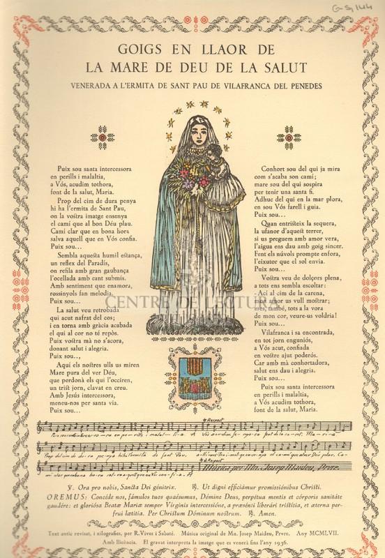 Goigs en llaor de la Mare de Deu de la Salut venerada a l'ermita de Sant Pau de Vilafranca del Penedes