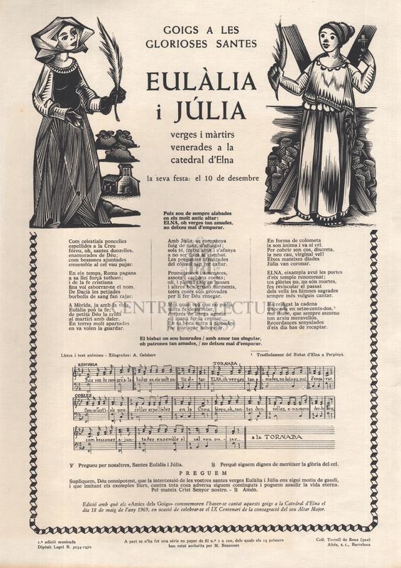 Goigs a les glorioses santes Eulàlia i Júlia, verges i màrtirs evenerades a la catedral d'Elna, la seva festa: el 10 de desembre