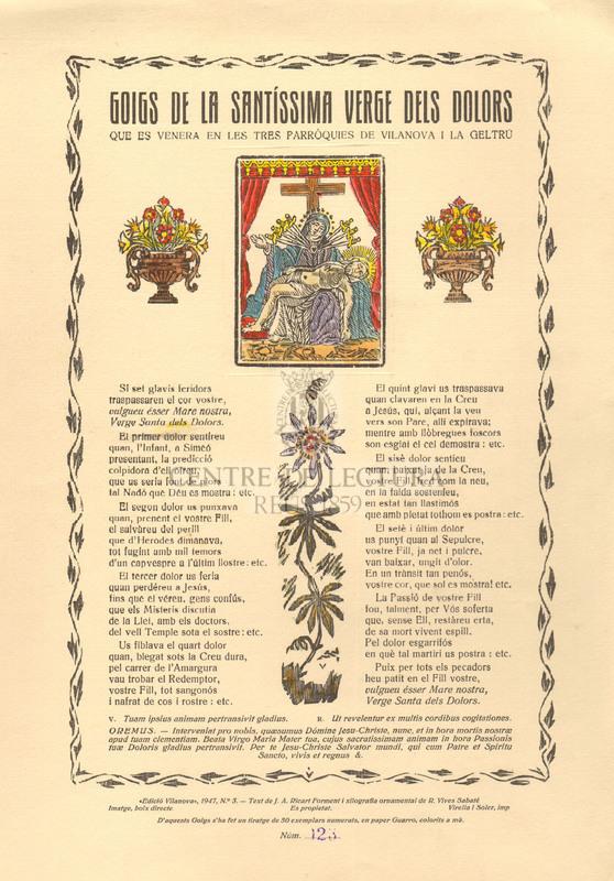 Goigs de la Santíssima Verge dels Dolors que es venera en les tres parròquies de Vilanova i la Geltrú