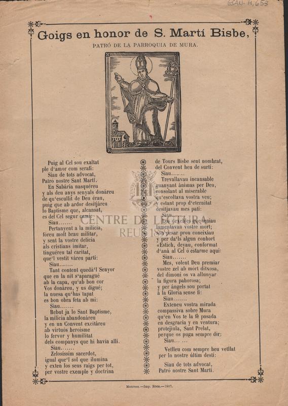 Goigs en honor de S. Martí Bisbe, patró de la parroquia de Mura