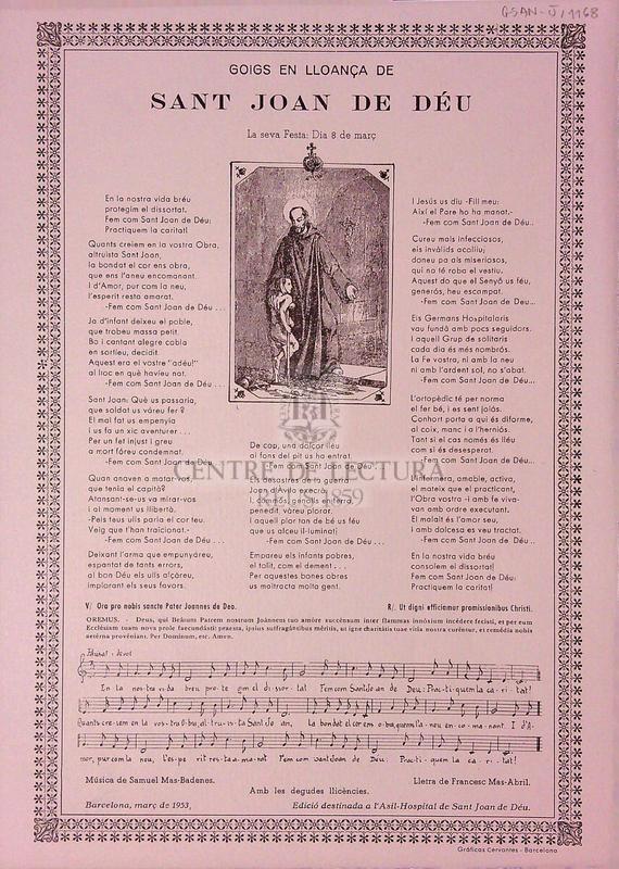 Goigs en lloança de sant Joan de Déu, La seva Festa: Dia 8 de març