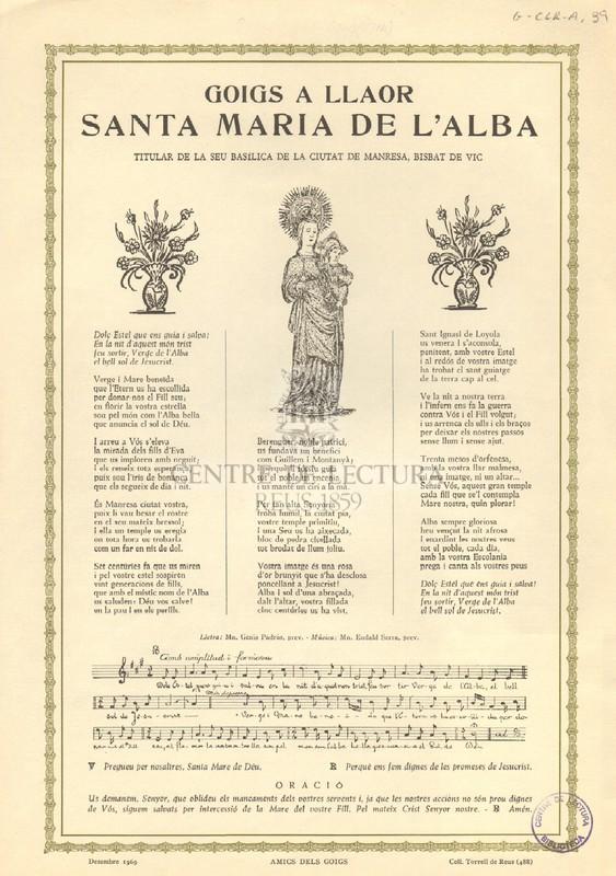 Goigs a llaor Santa Maria de l'Alba, titular de la Seu Basílica de la ciutat de Manresa, Bisbat de Vic
