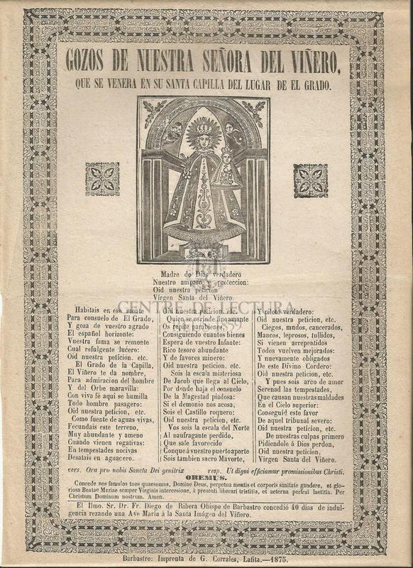 Gozos de Nuestra Señora del Viñero, que se venera en su Santa Capilla de Lugar de el Grado