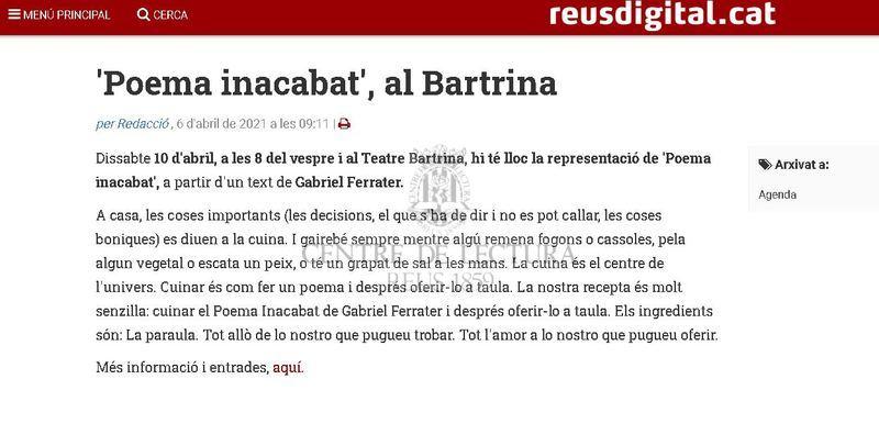 'Poema inacabat', al Bartrina
