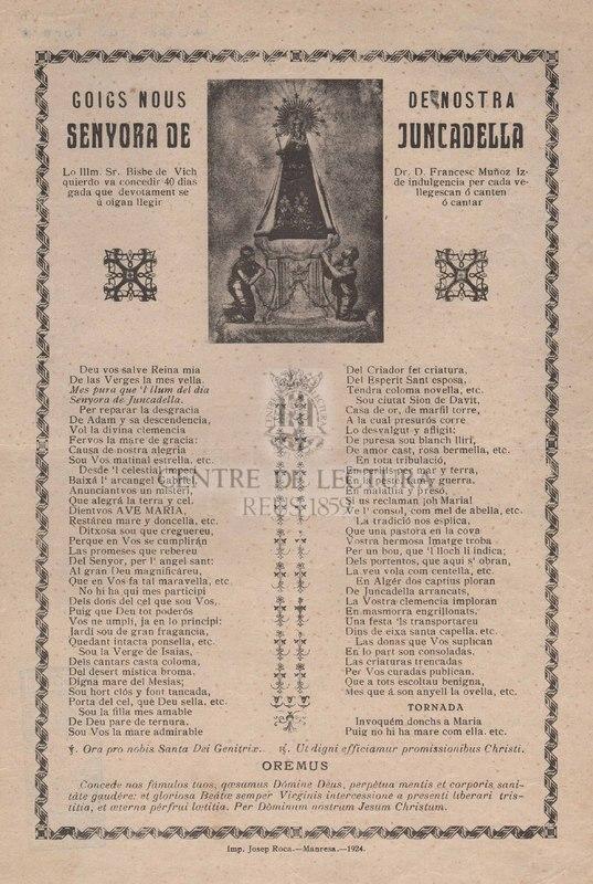 Goigs nous de Nostra Senyora de Juncadella.