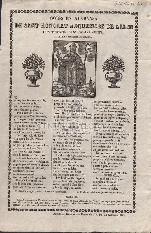 Goigs en alabansa de Sant Honorat Arquebisbe de Arles que se venera en sa propia hermita, situada en lo terme de Solsona