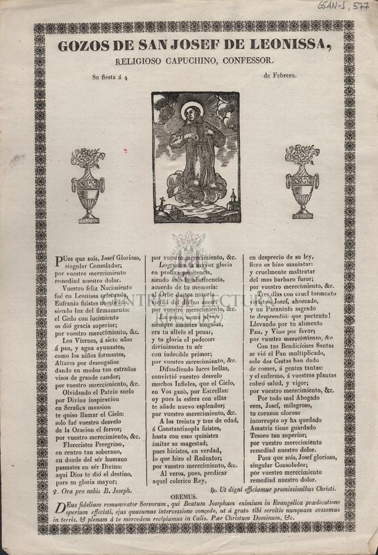 Gozos de San Josef de Leonissa. Religioso Capuchino Confessor. Su fiesta á 4 de Febrero