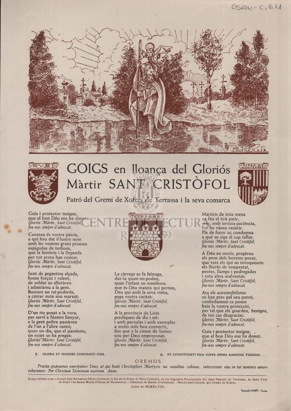 Goigs en lloança del Gloriós Màrtir Sant Cristòfol , Patró del gremi de Xofers de Terrassa i la seva comarca