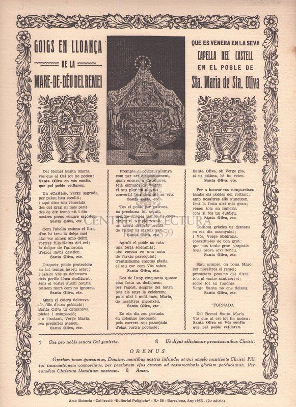 Goigs en lloança de la Mare-de-Déu del Remei que es venera en la seva Capella del Castelll en el poble de Sta. Maria de Sta. Oliva