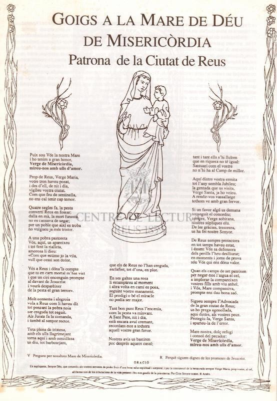 Goigs a la Mare de Déu de Misericòrdia Patrona de la Ciutat de Reus.