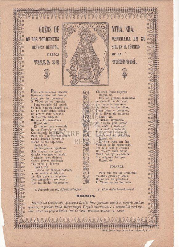 Gozos de Ntra. Sra. de los Torrentes venerada en su hermosa hermita, sita en el término y cerca de la Villa de Vimbodí