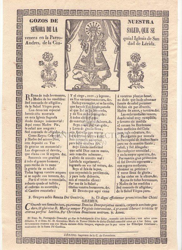 Gozos de Nuestra Señora de la Salutd, que se venera en la Parroquia Iglesia de San Andres, de la Ciudad de Lérida