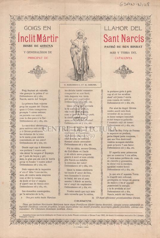 Goigs en llahor del ínclit Mártir Sant narcís bisbe de Girona Patró de son Bisbat y generalíssim de mar y terra del Principat de Catalunya