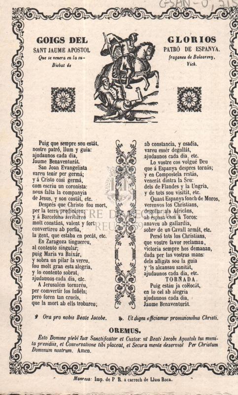 Goigs del glorios sant Jaume apostol patró de Espanya, Que se venera en la sufraganeade Balsareny, Bisbat de Vich