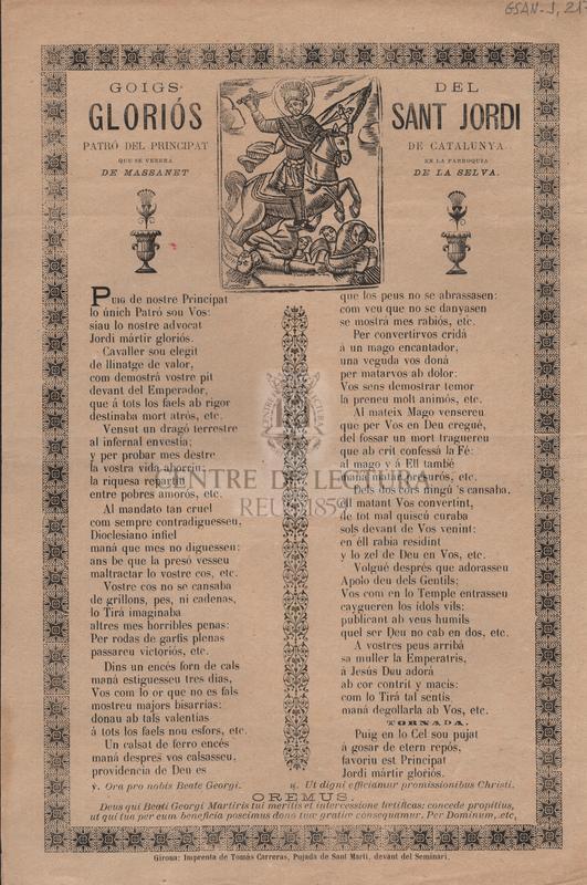 Goigs del gloriós Sant Jordi. Patró del Principat de Catalunya, que se venera en la parroquia de Massanet de la Selva