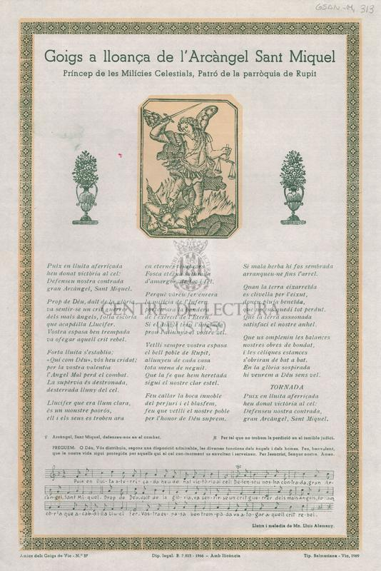 Goigs a lloança de l'Arcàngel Sant Miquel Príncep de les Milícies Celestials, Patró de la parròquia de Rupit.