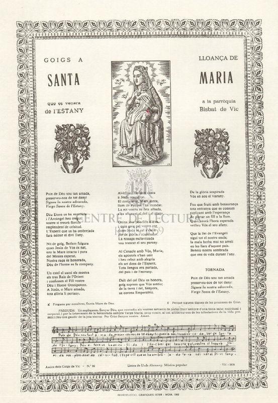 Goigs a llonaça de Santa Maria que es venera a la parròquia de l'Estany Bisbat de Vic