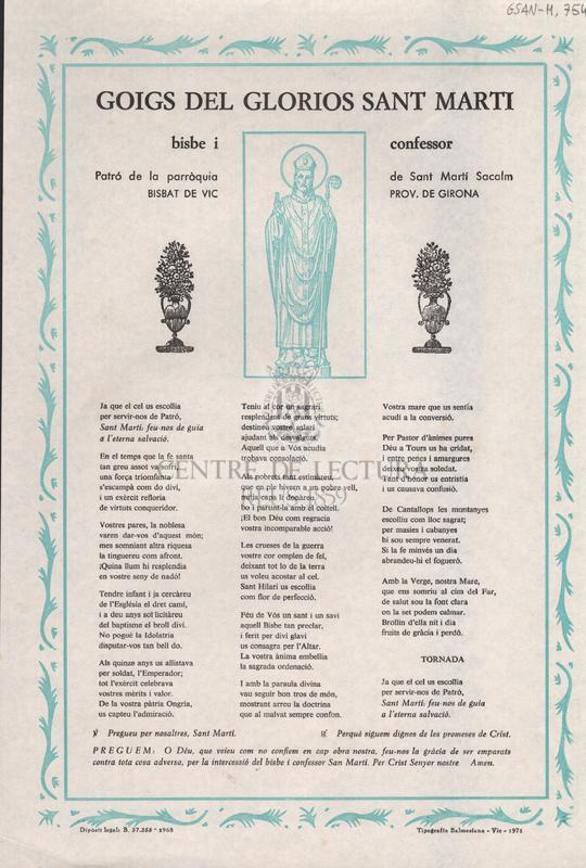 Goigs del glorios Sant Marti, bisbe i confessor. Patró de la parròquia de Sant Martí Sacalm. Bisbat de Vic. Prov. de Girona